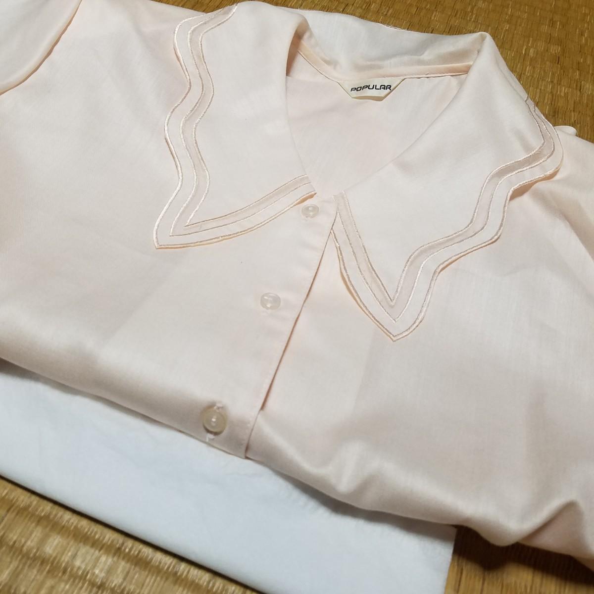 ブラウス 半袖シャツ 薄サーモンピンク ピンク デザイン襟