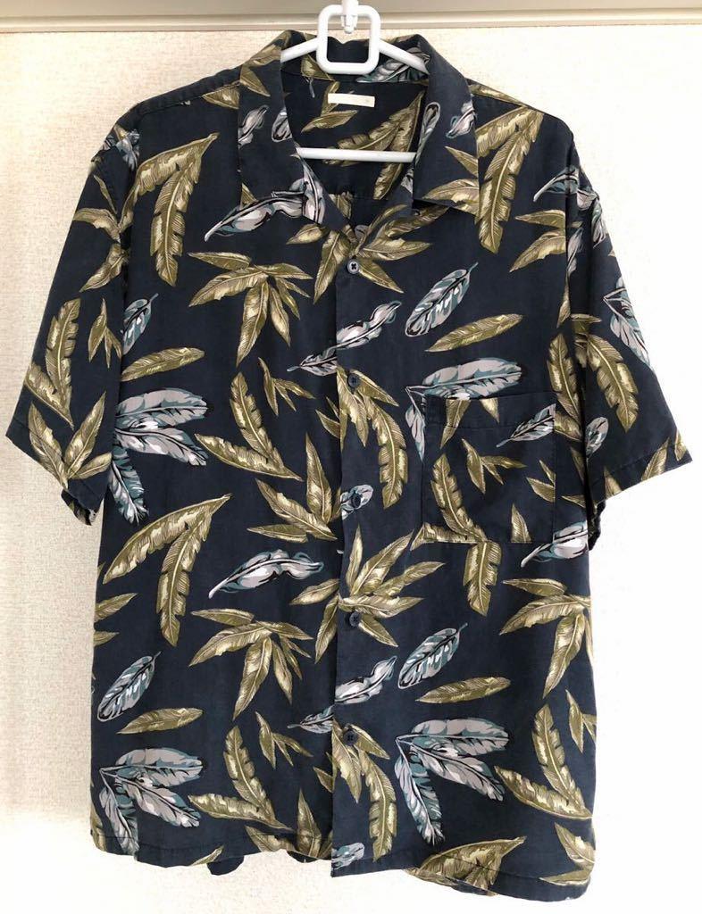 送料無料 完売モデル GU オープンカラービッグシャツ アロハシャツ 半袖 リーフ柄 半袖シャツ ジーユー メンズMサイズ ネイビー 匿名配送