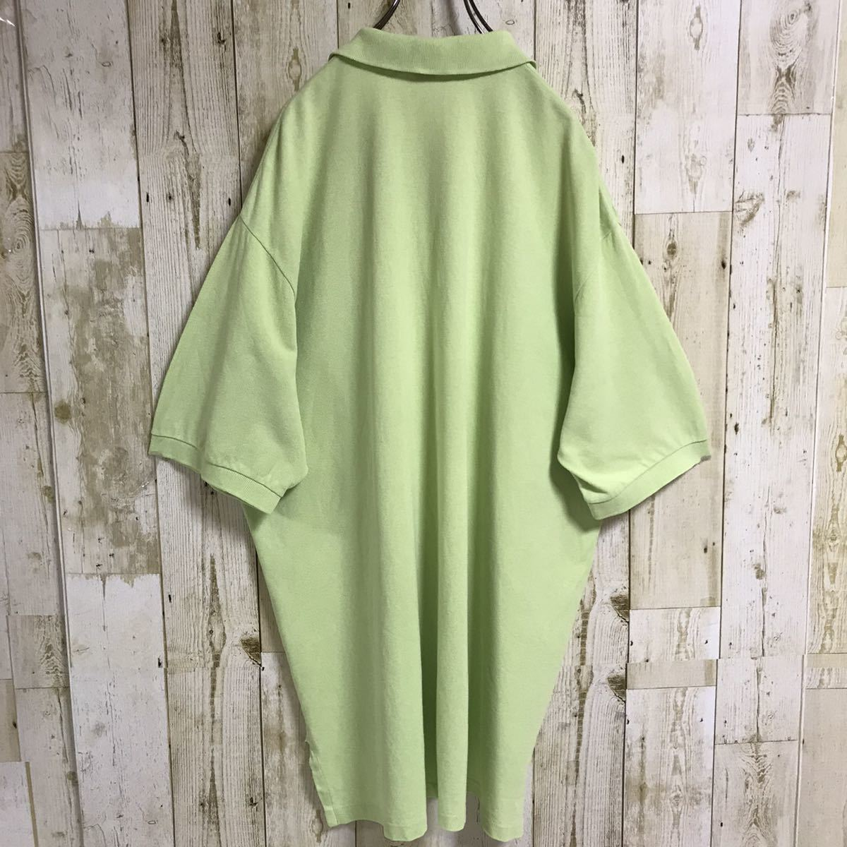 Ralph Lauren ポロバイラルフローレン ポロシャツ 半袖シャツ XL ライムグリーン 刺繍ロゴ ポニー ビッグサイズ オーバーサイズ