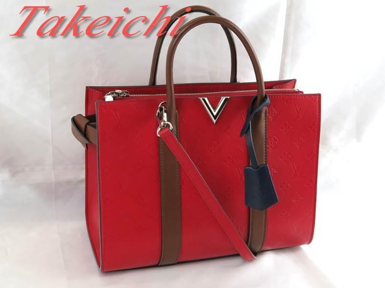 [Louis Vuitton] Кожаная сумка с монограммой ★ Двухсторонняя сумка через плечо Very Tote MM ♪ Ruby x Noisette x Navy / b25440 Сумка, сумка и сумка с монограммой и сумка через плечо