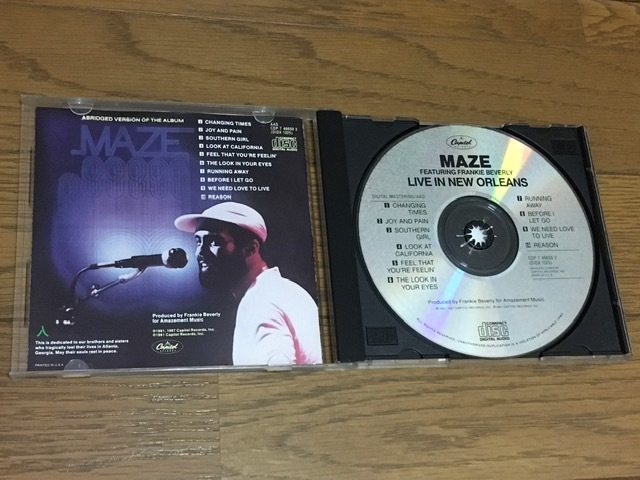 Maze Featuring Frankie Beverly / Live in New Orleans ライブ盤 名盤 輸入盤 Marvin Gaye / The Butlers / Jubu Smith / Big Daddy Kane_画像4