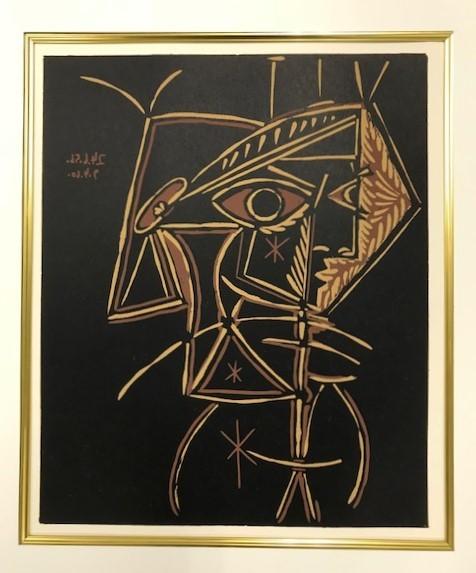 【特価】 ≪  パブロ・ピカソ  ≫  LINOLEUM-CUTS【リノカット版画】  FEMALE-BUST  1962年  PABLO PICASSO