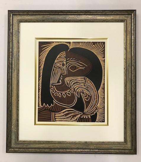 【特価】 ≪  パブロ・ピカソ  ≫  LINOLEUM-CUTS【リノカット版画】  FEMALE-HEAD WITH NECKLACE  1962年  PABLO PICASSO