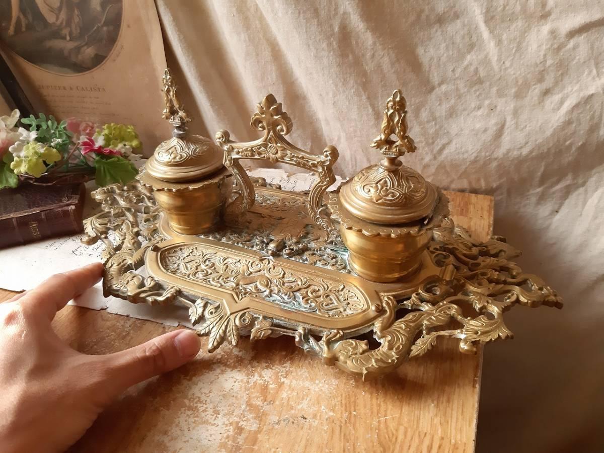 ★ お得キャンペーン中!!! ★  フランス アンティーク 青銅 装飾付き インクスタンド 19世紀 レア