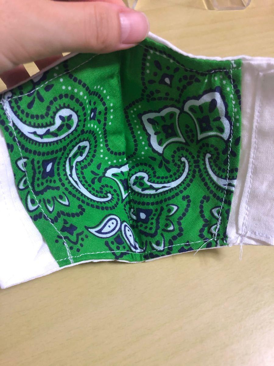 インナーマスク  バンダナ緑柄