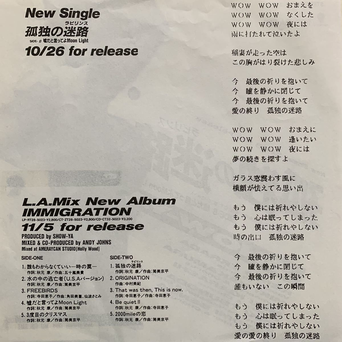 【EP】【7インチレコード】激レア 非売品 見本盤 プロモオンリー SHOW-YA / 孤独の迷路 CD移行期_画像2
