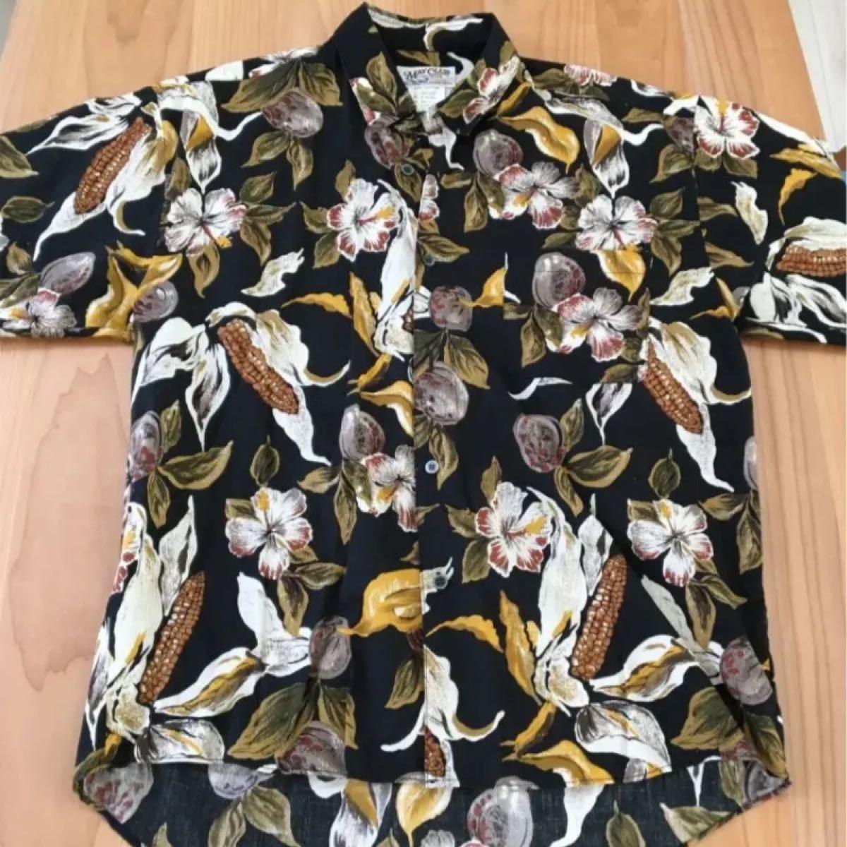 メンズ 黒 アロハシャツ 半袖シャツ 柄 ハワイアンシャツ 花柄
