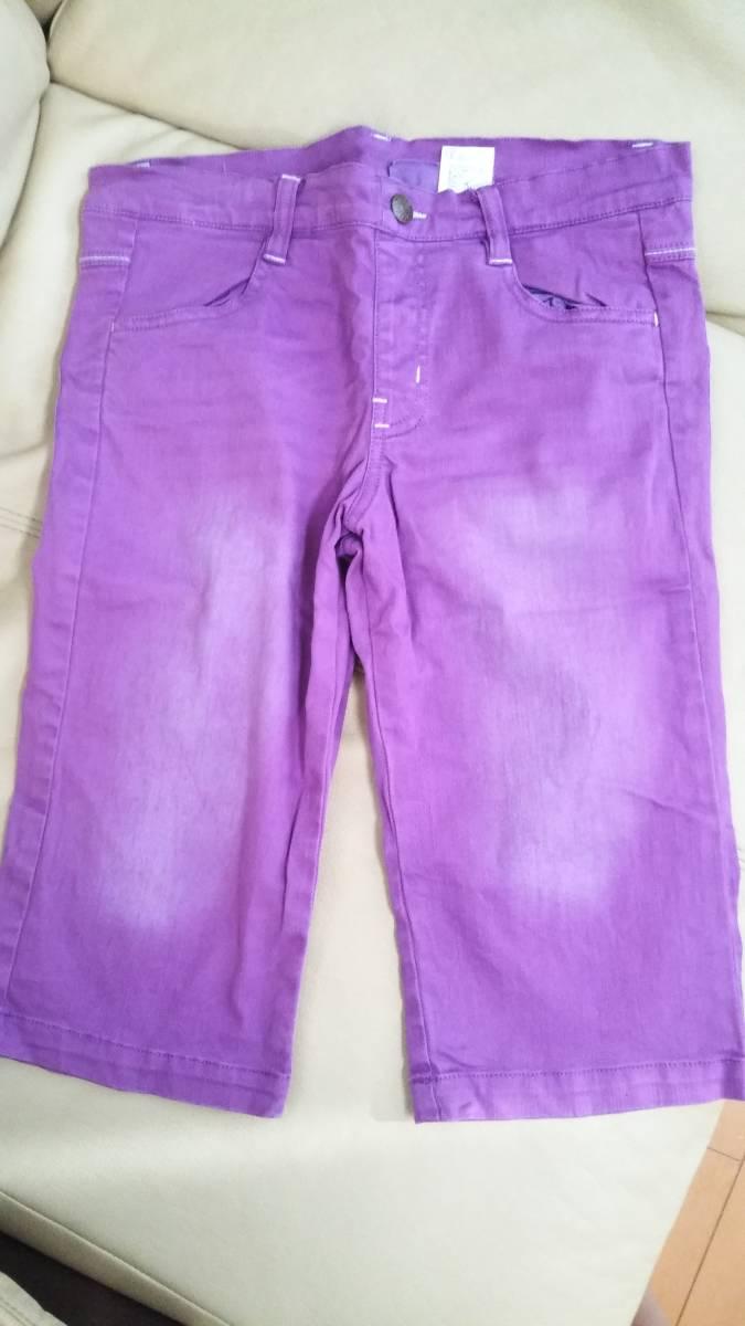 紫 デニム ハーフパンツ 春夏用 140cm_画像1