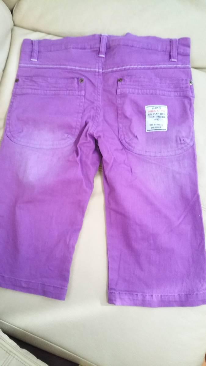 紫 デニム ハーフパンツ 春夏用 140cm_画像2
