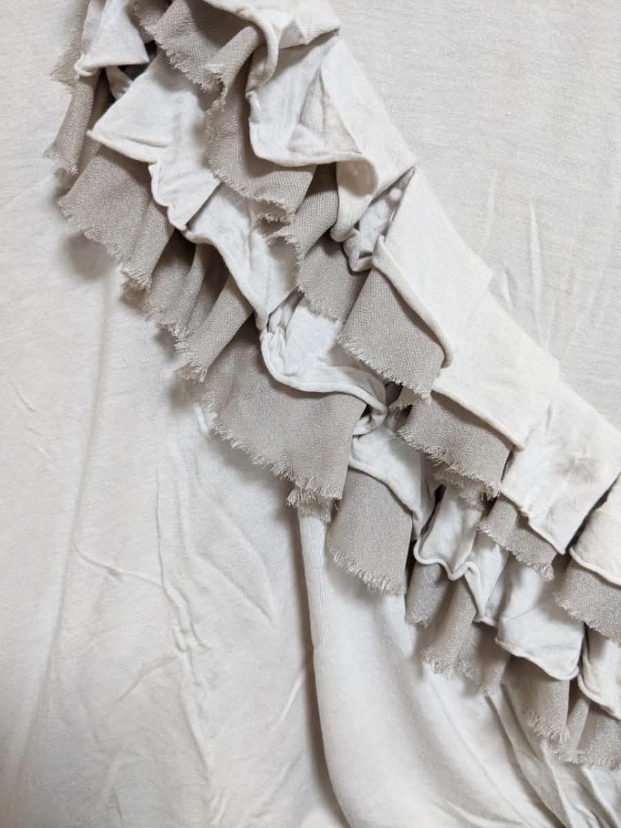 美品 YEVS 斜めフリルTシャツ グレー イーブス 半袖 夏トップス