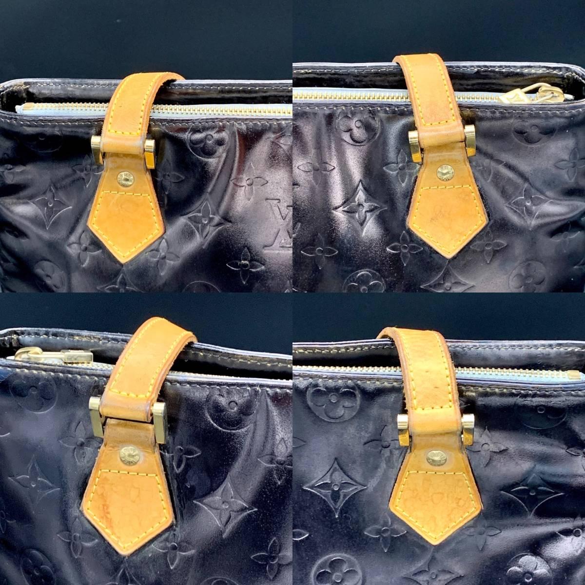 【艶消し】【漆黒】 ルイヴィトン ヴェルニ ヒューストンM91053  ハンドバッグ トートバッグ ベージュxマットブラック_画像4