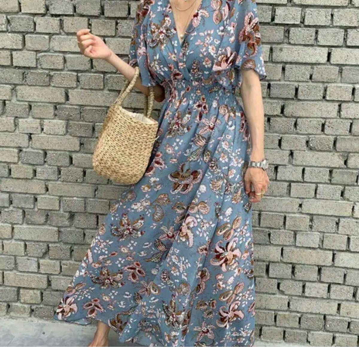 ワンピース ロングワンピース 花柄 ブルー 柄 シフォン 半袖 カシュクール