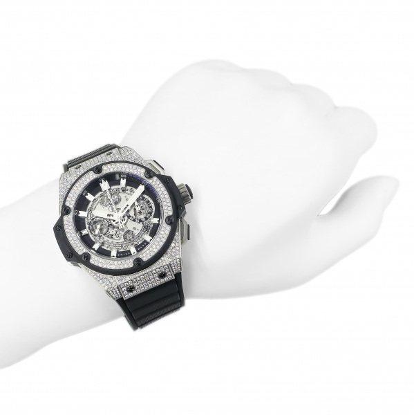 ウブロ HUBLOT キングパワー ウニコ チタニウム ダイヤ 701.NX.0170.RX.1704 シルバー文字盤 中古 腕時計 メンズ_画像8