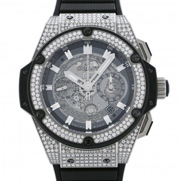 ウブロ HUBLOT キングパワー ウニコ チタニウム ダイヤ 701.NX.0170.RX.1704 シルバー文字盤 中古 腕時計 メンズ_画像1