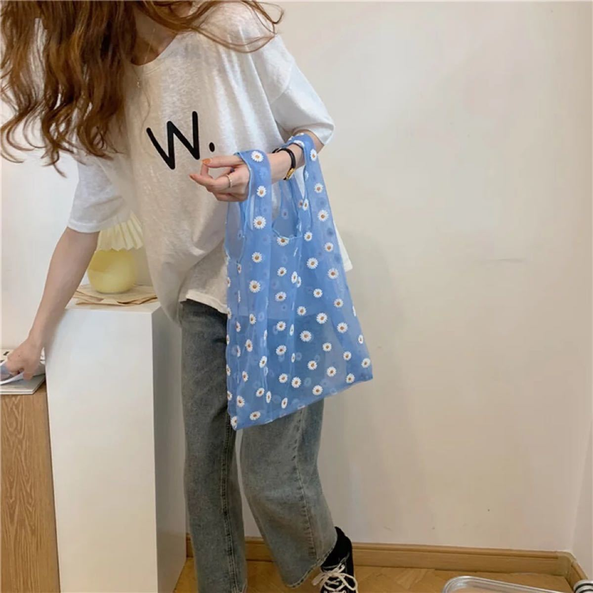 エコバッグ 刺繍 チュール 買い物袋 レジ袋 ショッピングバッグ マルシェバック