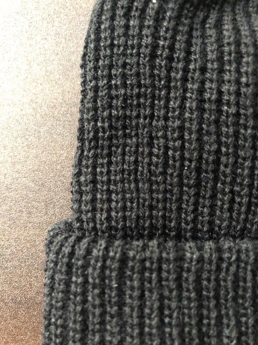 ニット帽 浅め 黒 ビーニー ワッチキャップ 帽子 ストリート系
