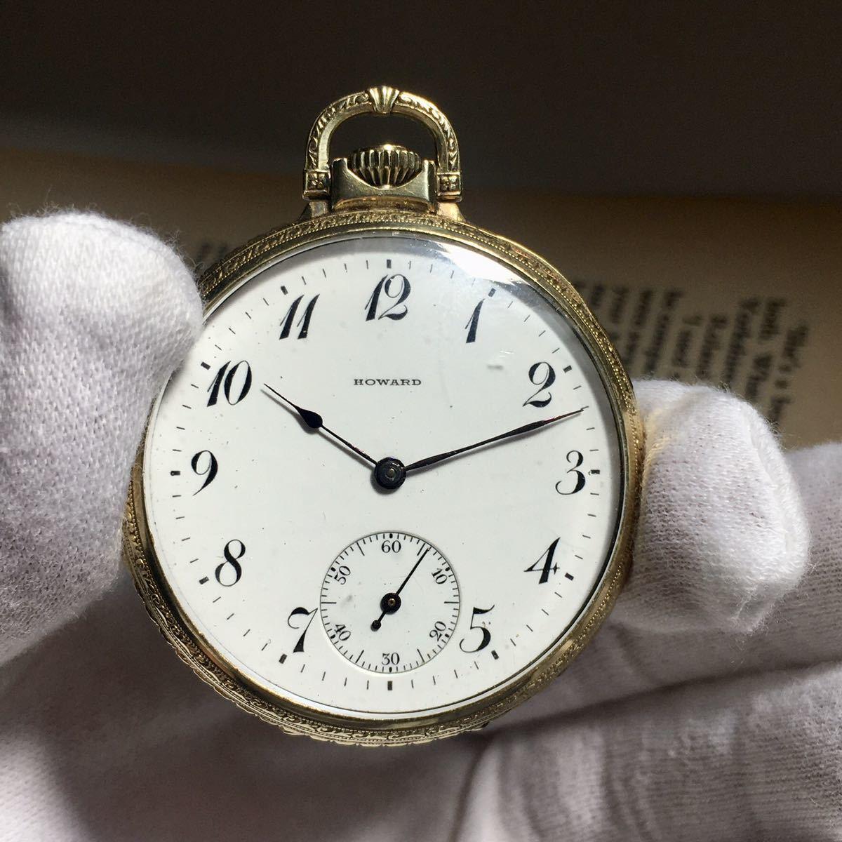 希少!!動作良好★HOWARD ハワード アンティーク 懐中時計 1911年 手巻き ケース径46㎜ 14KGF ビンテージ ポケットウォッチ 文字盤ホワイト_画像9