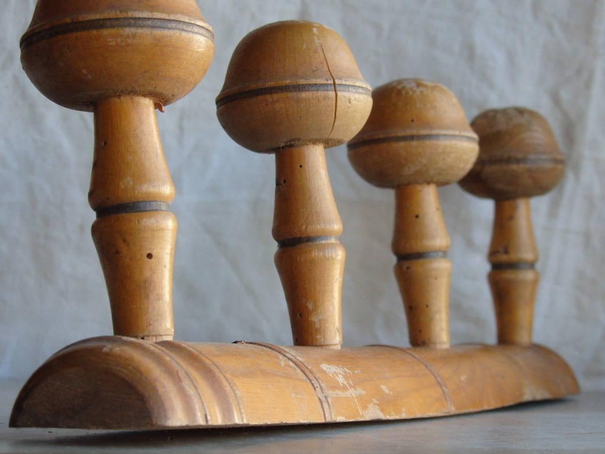 フランスアンティーク 壁掛け コートフック ハンガー 什器 ディスプレイ 家具 雑貨 古木 蚤の市 ウォール 帽子 4連 仏_画像8