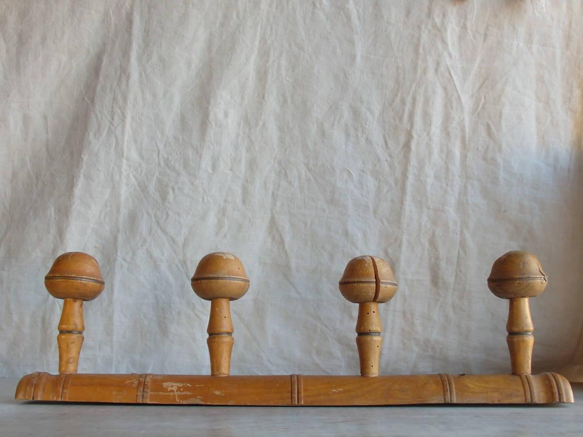 フランスアンティーク 壁掛け コートフック ハンガー 什器 ディスプレイ 家具 雑貨 古木 蚤の市 ウォール 帽子 4連 仏_画像2