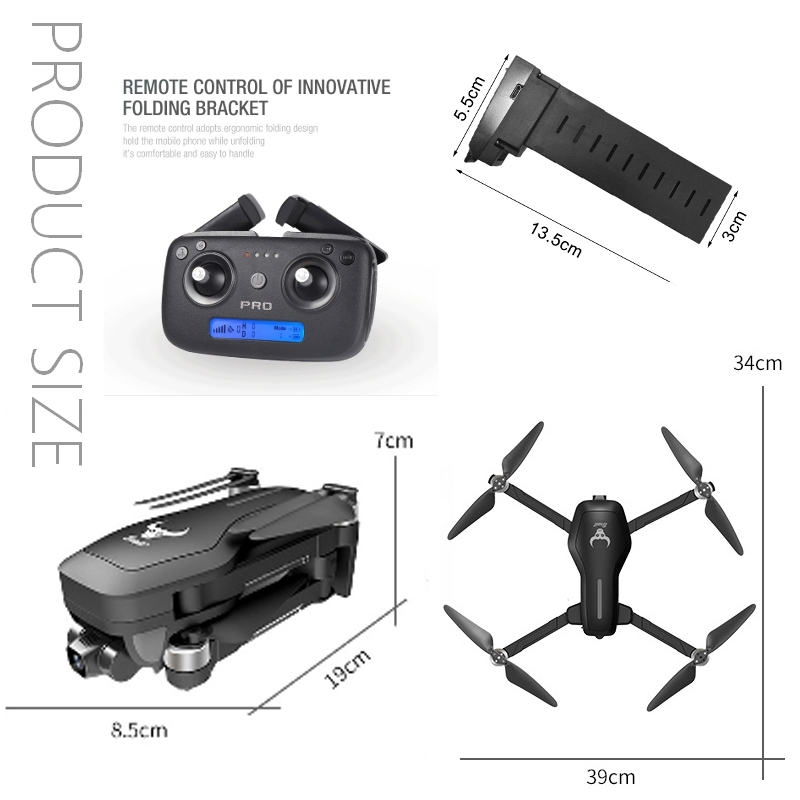 RSプロダクト SG906 PRO 上位モデル【ジンバル搭載】ケース付 【4K高画質カメラ】デュアルカメラ 光学センサー GPS (CSJ X7 HS720)