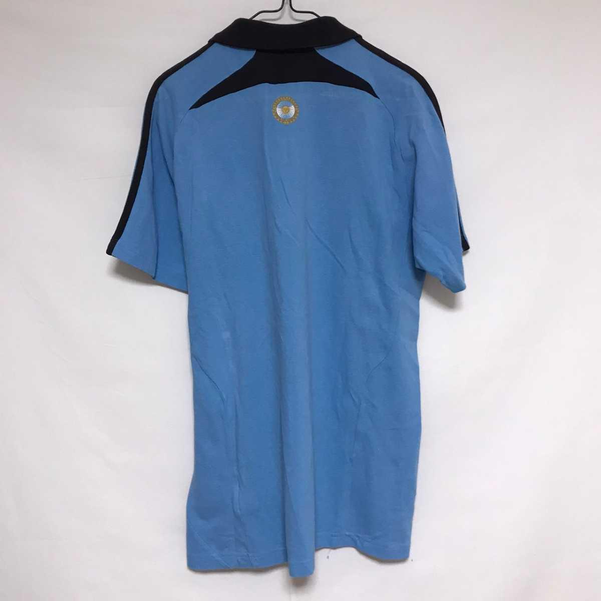 adidas ポロシャツ アルゼンチン代表 公式 ブルー 鹿の子