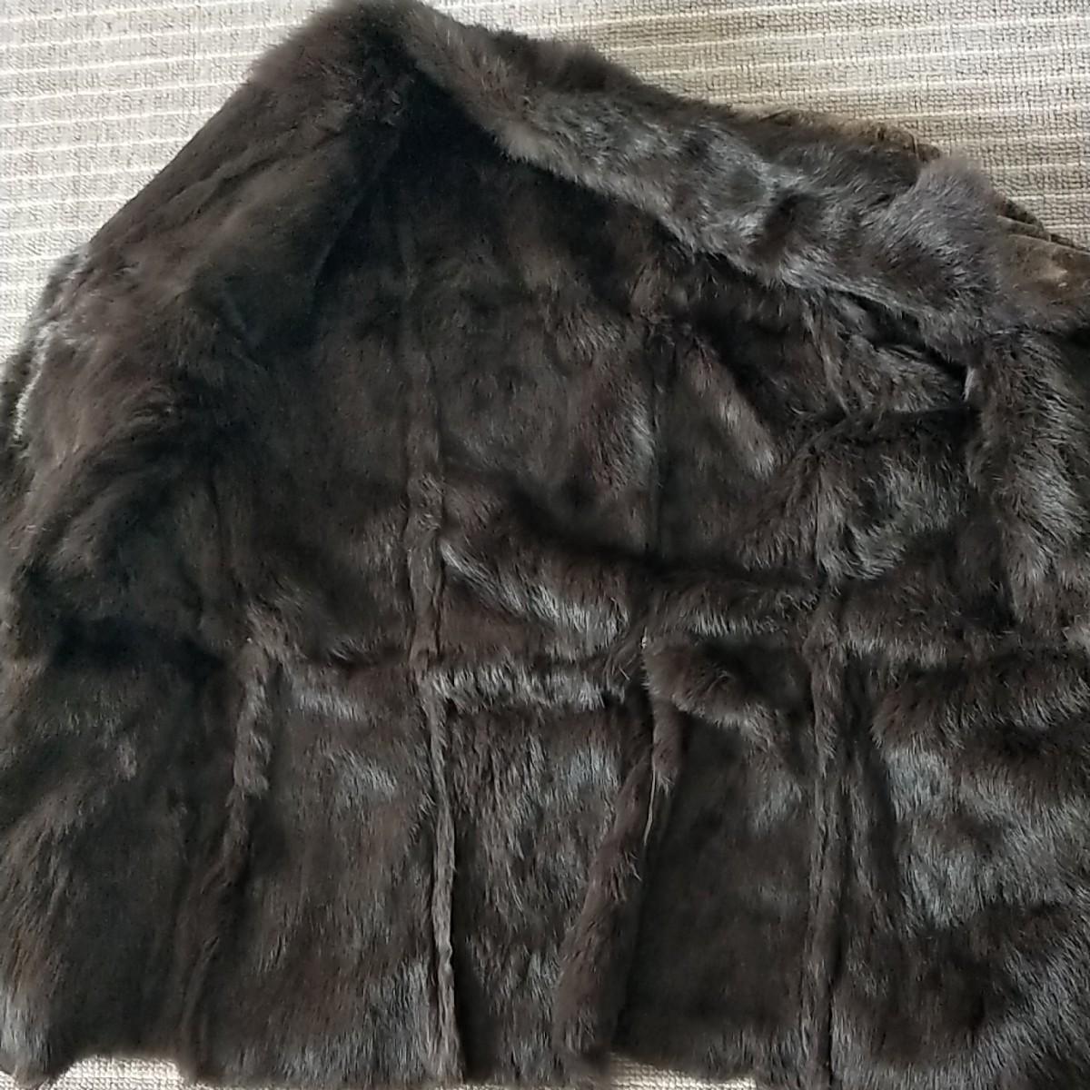 毛皮コート ラビット  毛皮 レディース  ブラウン ウサギ  ファーコート