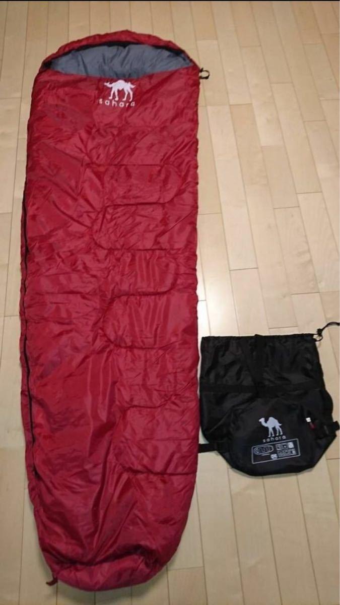 寝袋 シュラフ コンパクト収納 抗菌タイプ 最低使用温度 -15℃ レッド