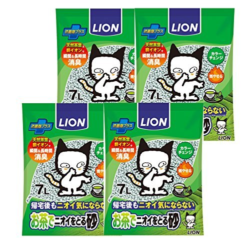 〇残り僅か〇★★★今だけ特価★7L×4個 ライオン (LION) お茶でニオイをとる砂 猫砂 7L×4個 (ケース販_画像1