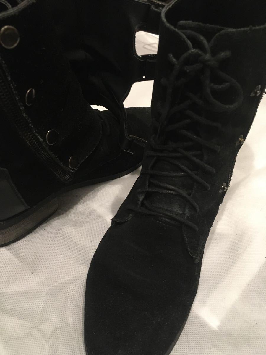 ブーツ 黒 スエード ショートブーツ