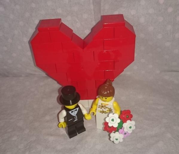 ☆LEGO 新郎新婦 ミニフィグ 結婚式 ウェディング レゴハート★_ご要望があれば無料でメガネ顔に交換します