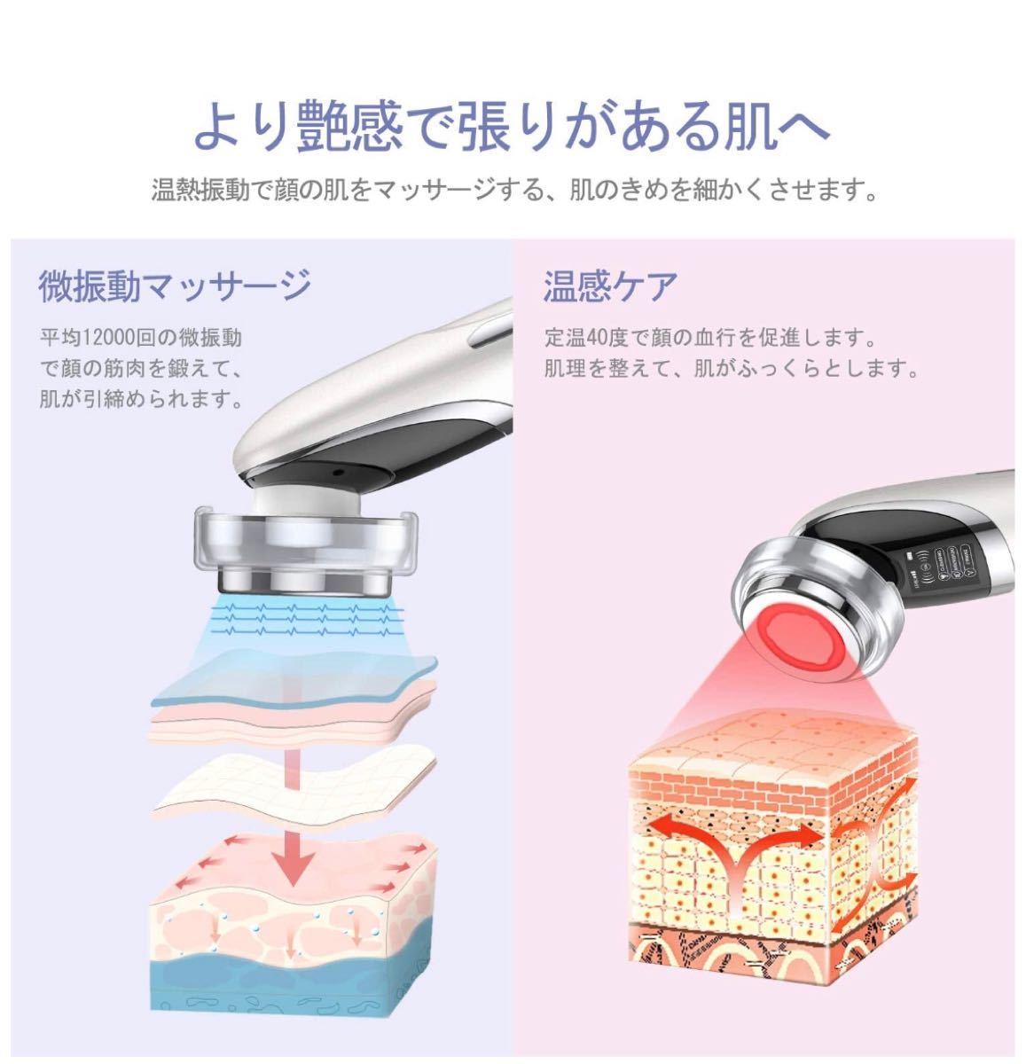美顔器 イオン導入導出 EMS微電流 LED光エステ 42℃温熱ケア 目元ケア