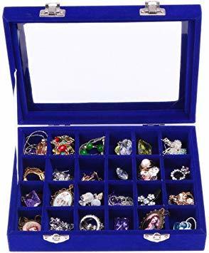 青 SPIEA 24区画 アクセサリーボックス ベルベット調 ジュエリーケース 耳飾り ピアス 指輪 ディスプレイ収納ケース (_画像5