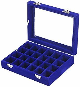 青 SPIEA 24区画 アクセサリーボックス ベルベット調 ジュエリーケース 耳飾り ピアス 指輪 ディスプレイ収納ケース (_画像2