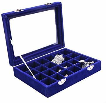 青 SPIEA 24区画 アクセサリーボックス ベルベット調 ジュエリーケース 耳飾り ピアス 指輪 ディスプレイ収納ケース (_画像1