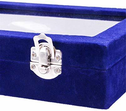 青 SPIEA 24区画 アクセサリーボックス ベルベット調 ジュエリーケース 耳飾り ピアス 指輪 ディスプレイ収納ケース (_画像6