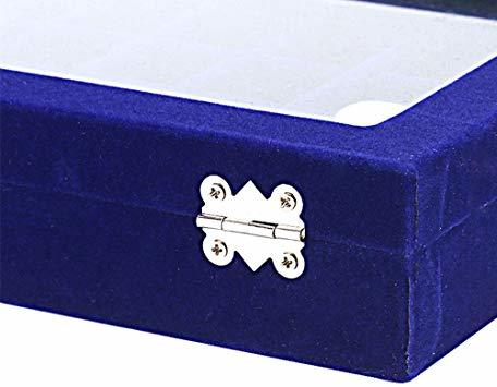 青 SPIEA 24区画 アクセサリーボックス ベルベット調 ジュエリーケース 耳飾り ピアス 指輪 ディスプレイ収納ケース (_画像7