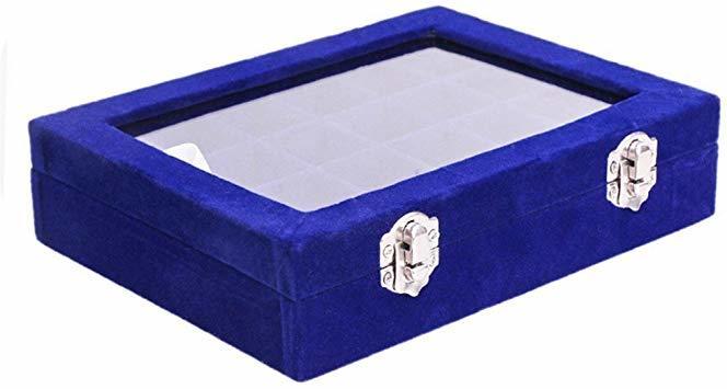 青 SPIEA 24区画 アクセサリーボックス ベルベット調 ジュエリーケース 耳飾り ピアス 指輪 ディスプレイ収納ケース (_画像4