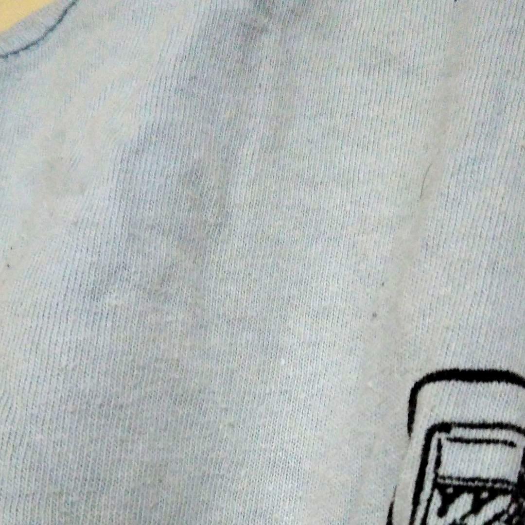 メンズ水色 Vネック半袖Tシャツ