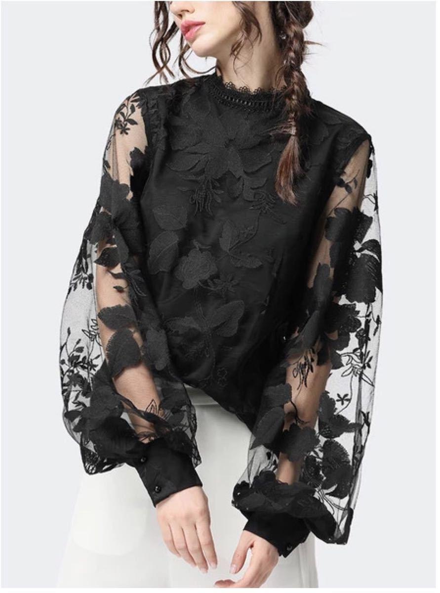 花柄 刺繍レース ブラウス 韓国 トップス レディース バルーン袖 シースルー
