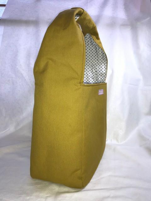 帆布 ショルダーバッグ トートバッグ ドット シンプル ハンドバッグ カーキ