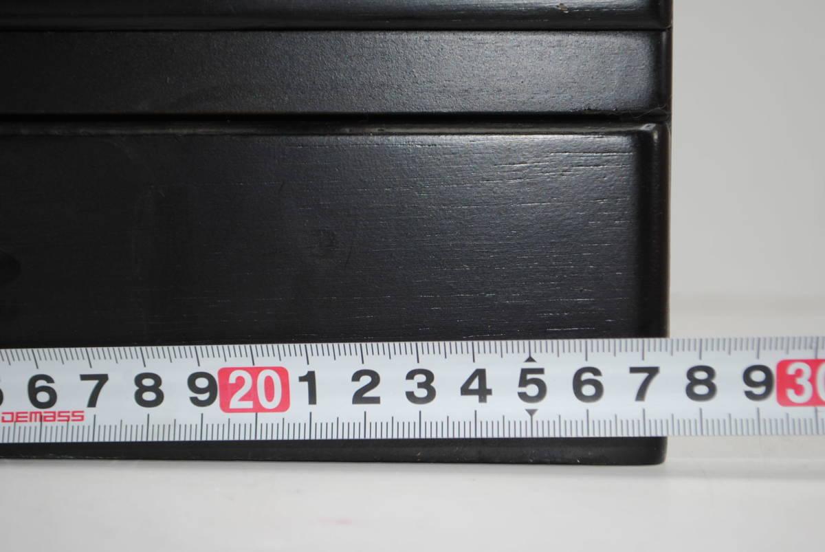 け167 ★【便利!】木製メイクボックス/コスメボックス/化粧箱/収納/小物入れ/ブラック系/★_画像3