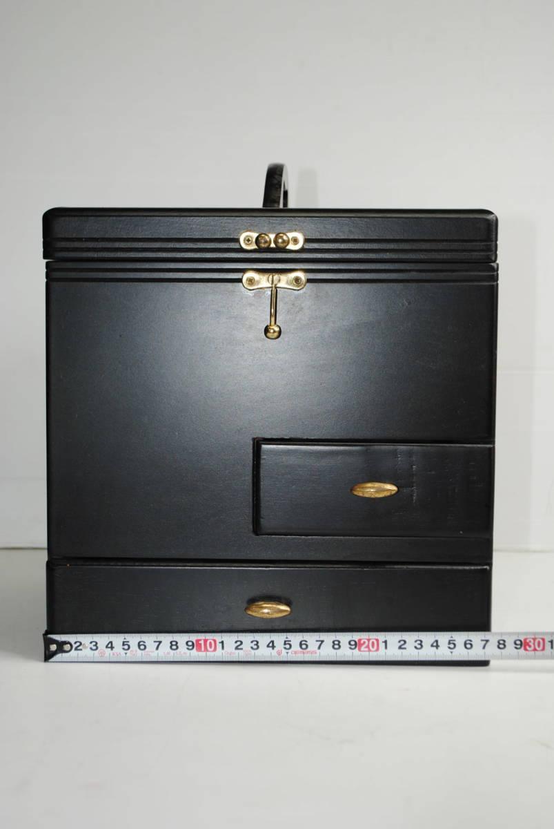 け167 ★【便利!】木製メイクボックス/コスメボックス/化粧箱/収納/小物入れ/ブラック系/★_画像2