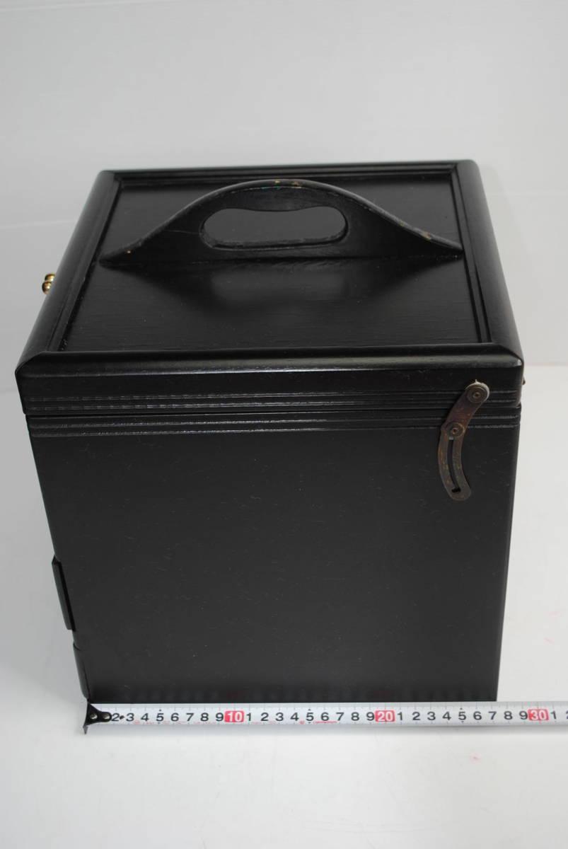け167 ★【便利!】木製メイクボックス/コスメボックス/化粧箱/収納/小物入れ/ブラック系/★_画像4