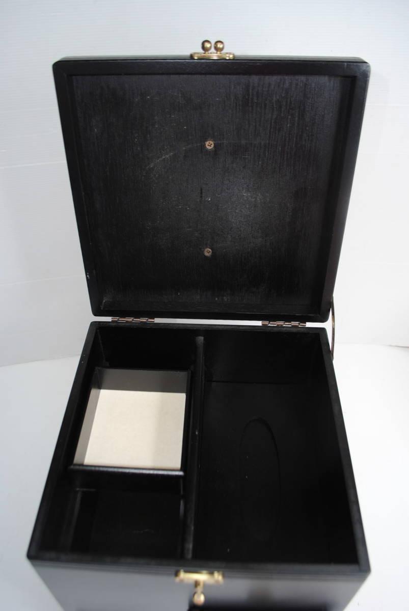 け167 ★【便利!】木製メイクボックス/コスメボックス/化粧箱/収納/小物入れ/ブラック系/★_画像10