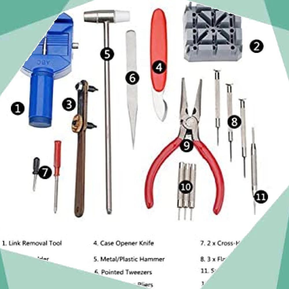 ◆新品即決!◇Salinr 腕時計 工具セット 時計修理ツール 時計修理 ベルトサイズ調整 工具 コマ調整 コマ外し 電池交換 _画像2
