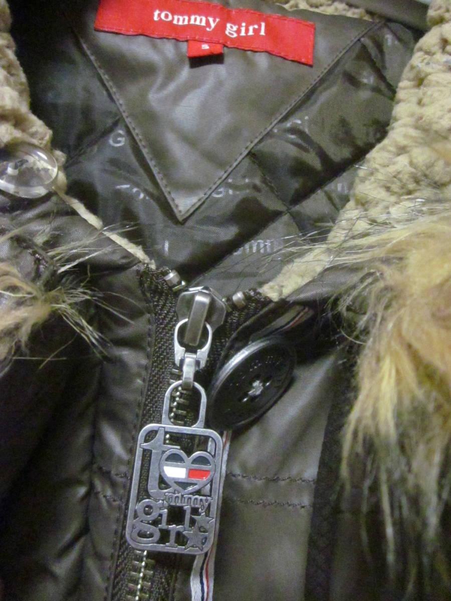 送料無料 TOMMY GIRL トミーガール 中綿入り モッズコート レディース S ファーフード ジャケット トミーヒルフィガー ブラウンカーキ
