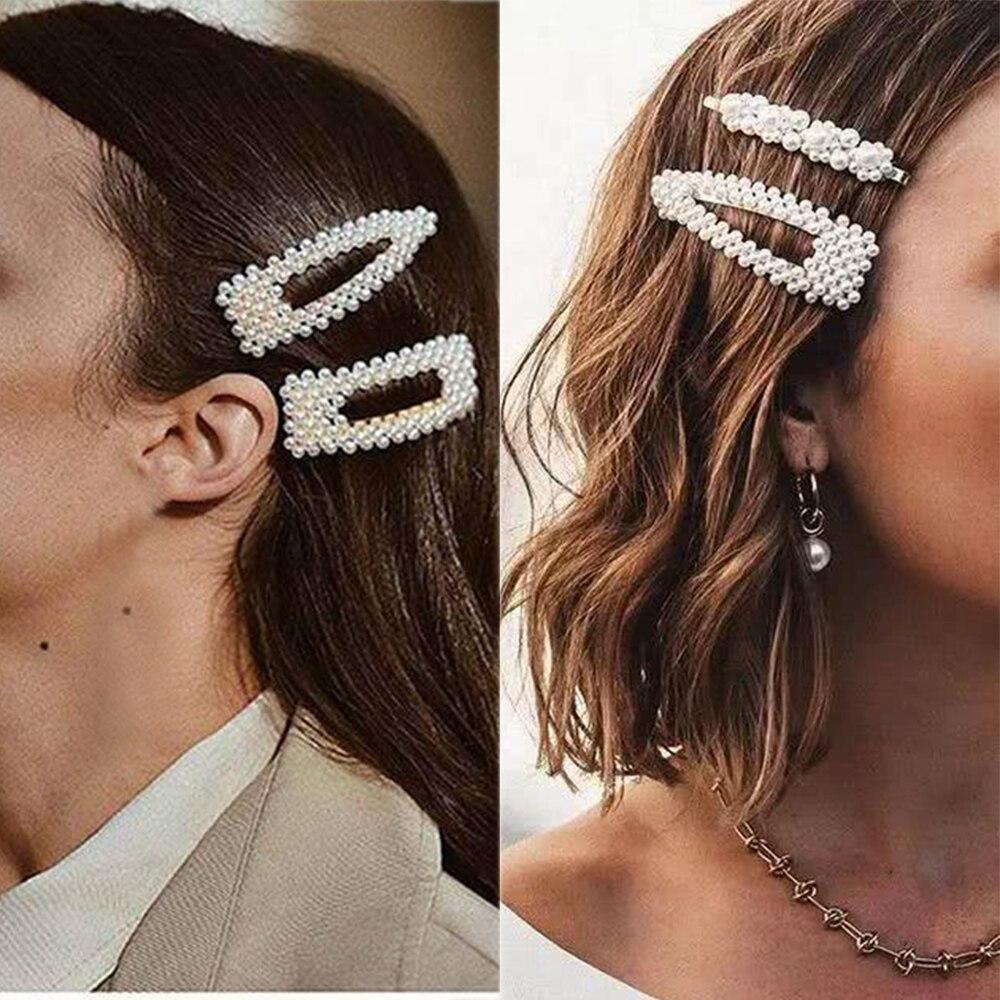 インファッション 1 セット女性女の子エレガントな真珠ヘアクリップ甘い帽子ヘアピンバレッタアセテートヘアアクセサリーヒョウセット_画像3
