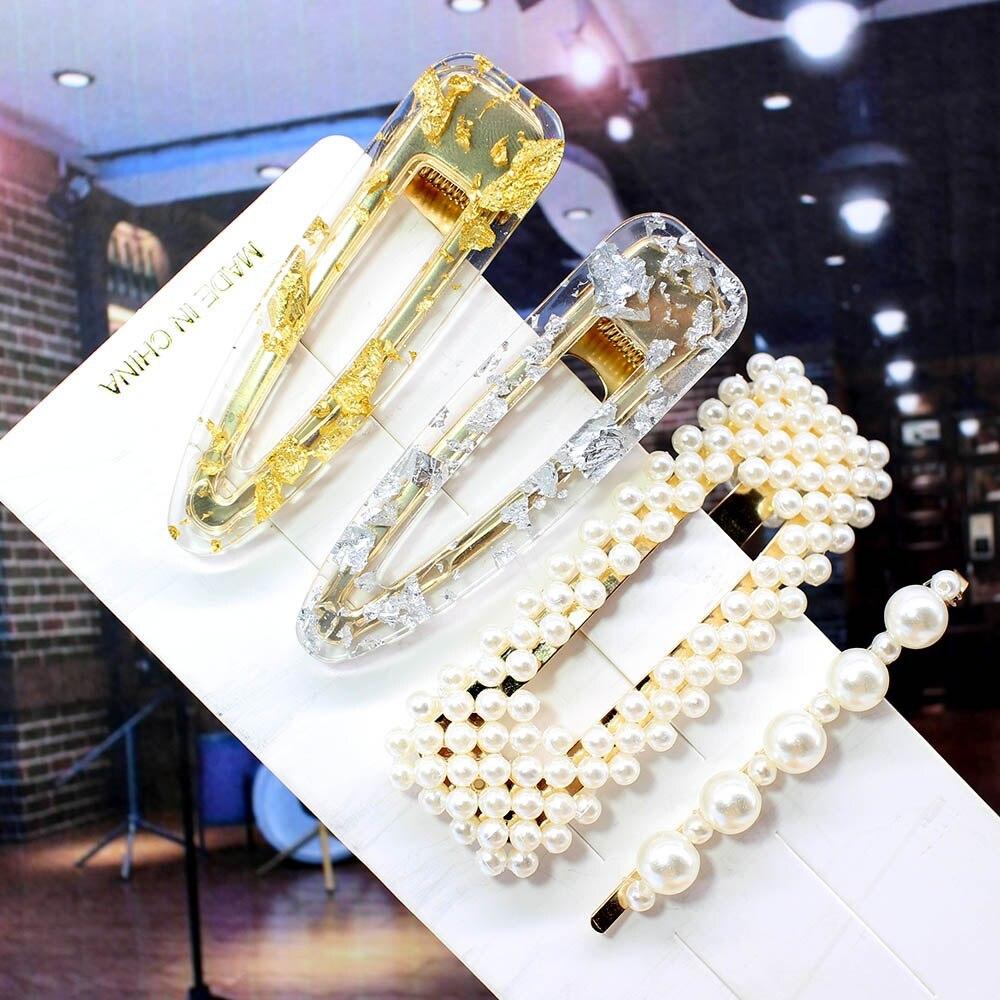インファッション 1 セット女性女の子エレガントな真珠ヘアクリップ甘い帽子ヘアピンバレッタアセテートヘアアクセサリーヒョウセット_画像5