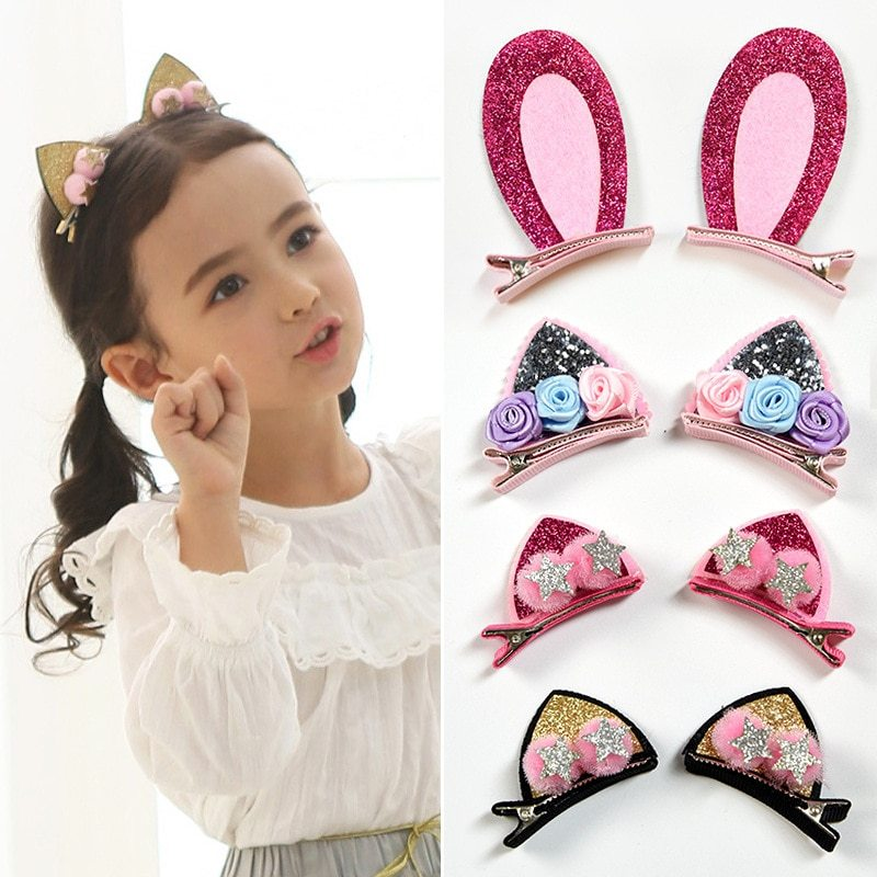 2 ピース/セットかわいい女の子のためのグリッター虹フェルト生地花ヘアピン猫耳のウサギバレッタ子供のヘアアクセサリー_画像1