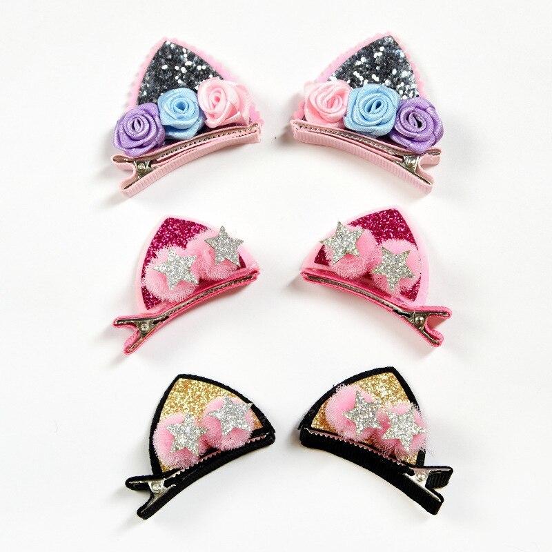 2 ピース/セットかわいい女の子のためのグリッター虹フェルト生地花ヘアピン猫耳のウサギバレッタ子供のヘアアクセサリー_画像5